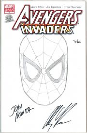 Avengers Invaders #1 Dynamic Forces Authentix Signed John Romita Remark Alex Ross Spider-man Sketch